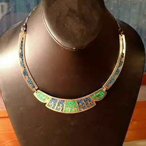 Vintage turquoise and lapis inlay necklace